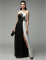 cheap -A-Line One Shoulder Floor Length Chiffon Color Block Formal Evening Dress with Beading / Split Front by TS Couture®