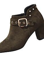 Недорогие -Жен. Fashion Boots Полиуретан Осень Минимализм Ботинки На толстом каблуке Сапоги до середины икры Черный / Коричневый / Зеленый