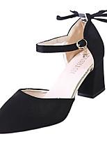 Недорогие -Жен. Полиуретан Лето Туфли д'Орсе Обувь на каблуках На толстом каблуке Заостренный носок Черный / Бежевый / Коричневый / Для вечеринки / ужина