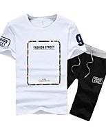 cheap -Men's Sports Short Sleeve Activewear Set - Geometric / Letter Round Neck