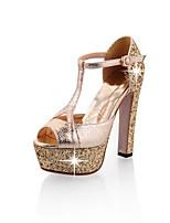 baratos -Mulheres Sapatos Confortáveis Sintéticos Primavera Saltos Salto Agulha Dourado / Preto / Prata