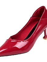 abordables -Femme Polyuréthane Automne Escarpin Basique Chaussures à Talons Kitten Heel Bout pointu Noir / Rouge / Amande