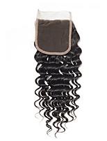 Недорогие -Fulgent  Sun Перуанские волосы / Крупные кудри 4x4 Закрытие Волнистый Бесплатный Часть Китайский Кружева Натуральные волосы Жен. Лучшее качество / Горячая распродажа / Кружевное закрытие