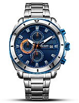 cheap -MEGIR Men's Sport Watch Dress Watch Japanese Quartz 30 m Water Resistant / Water Proof Calendar / date / day Chronograph Stainless Steel Band Analog Luxury Fashion Silver - Black Blue / Noctilucent