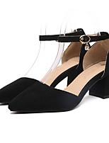 baratos -Mulheres Sapatos Confortáveis Camurça Primavera Saltos Salto Robusto Preto / Cinzento / Rosa claro
