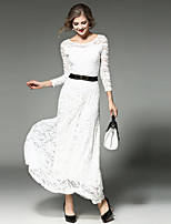 cheap -Women's Sophisticated / Elegant Swing Dress - Solid Colored Lace