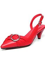 Недорогие -Жен. Кожаные ботинки Наппа Leather Весна лето Обувь на каблуках Гетеротипическая пятка Белый / Черный / Красный