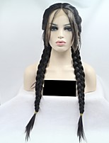cheap -Synthetic Lace Front Wig Straight Braid 130% Density Synthetic Hair 24 inch Women Black Wig Women's Mid Length Lace Front Natural Black / Yes
