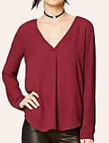 Недорогие -Жен. Плиссировка Большие размеры - Футболка / Блуза V-образный вырез Свободный силуэт Классический / Уличный стиль Однотонный