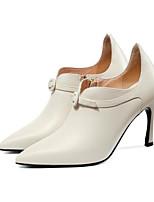 Недорогие -Жен. Балетки Наппа Leather Весна & осень Обувь на каблуках На шпильке Черный / Бежевый