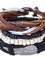 Недорогие -Муж. Плетение Wrap Браслеты Кожаные браслеты - Кожа Перо Винтаж, европейский, Мода Браслеты Бижутерия Черный Назначение Повседневные