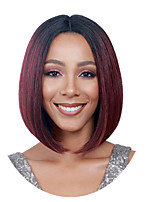cheap -Synthetic Wig Straight Burgundy Bob Haircut / Middle Part Synthetic Hair 12 inch Women / Ombre Hair / Middle Part Burgundy / Ombre Wig Women's Mid Length Capless Black / Burgundy