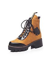 Недорогие -Жен. Обувь Синтетика Наступила зима Модная обувь Ботинки На толстом каблуке Круглый носок Сапоги до середины икры Серый / Коричневый / Для вечеринки / ужина
