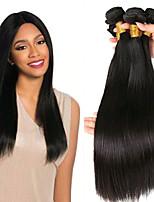 billiga -3 paket Indiskt hår / Afrikanska flätor Rak Obehandlat / Äkta hår Presenter / Human Hår vävar / Favör för Tebjudningar 8-28 tum Naurlig färg Hårförlängning av äkta hår Gåva / Heta Försäljning / Tjock