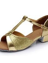 cheap -Women's Latin Shoes Patent Leather Sandal / Heel Splicing Thick Heel Customizable Dance Shoes Gold
