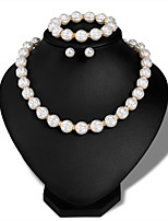 cheap -Women's Stylish Jewelry Set - Pearl Creative Stylish, European Include Stud Earrings / Necklace / Bracelet Silver For Wedding / Daily