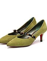 Недорогие -Жен. Комфортная обувь Замша Весна Обувь на каблуках На шпильке Черный / Зеленый / Хаки
