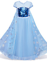 cheap -Kids / Toddler Girls' Vintage / Active Party / Holiday Snowflake Sequins Short Sleeve Midi Dress / Cotton / Layered / Mesh