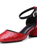 Недорогие -Жен. Комфортная обувь Овчина Лето Обувь на каблуках На толстом каблуке Черный / Красный