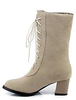 Недорогие -Жен. Обувь Замша Наступила зима Удобная обувь / Модная обувь Ботинки На толстом каблуке Сапоги до середины икры Черный / Коричневый / Миндальный