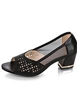 Недорогие -Жен. Балетки Полиуретан Лето Обувь на каблуках На низком каблуке Черный / Серебряный