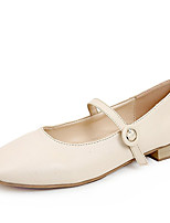 baratos -Mulheres Sapatos Confortáveis Couro Ecológico Outono Minimalismo Rasos Salto Baixo Preto / Bege