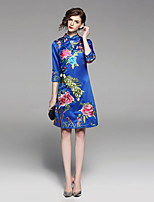 cheap -Women's Vintage / Chinoiserie A Line Dress - Floral / Animal Crane, Embroidered