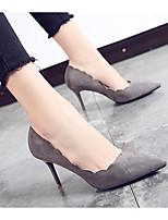 Недорогие -Жен. Комфортная обувь Замша Весна & осень Обувь на каблуках На шпильке Черный / Серый