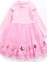 Недорогие -Дети Девочки Классический / Милая Однотонный Длинный рукав Платье