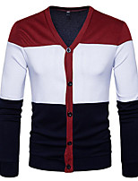 cheap -Men's Basic Cardigan - Color Block