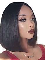 cheap -Human Hair Lace Front Wig Brazilian Hair / Burmese Hair Straight Wig Bob Haircut 130% Women / Easy dressing / Best Quality Natural Short Human Hair Lace Wig