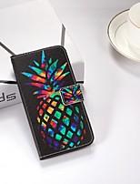 Недорогие -Кейс для Назначение Apple iPhone X / iPhone 8 Plus / iPhone XS Кошелек / со стендом / Флип Чехол Фрукты Твердый Кожа PU для iPhone XS / iPhone XR / iPhone XS Max