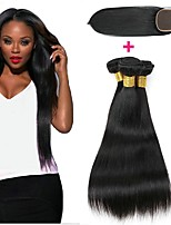 Недорогие -3 комплекта с закрытием Индийские волосы / Африканские косы Прямой Необработанные / Натуральные волосы Подарки / Косплей Костюмы / Человека ткет Волосы 8-20 дюймовый Ткет человеческих волос 4x4