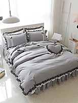 preiswerte -Bettbezug-Sets Solide Polyester Reaktivdruck 4 Stück