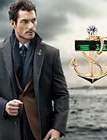 cheap -Men's Cubic Zirconia Classic / Stylish Brooches - Creative, Anchor Sailor Lolita, Fashion, British Brooch Black / Green For Wedding / Holiday