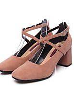 Недорогие -Жен. Комфортная обувь Замша Осень Обувь на каблуках На толстом каблуке Черный / Розовый / Винный