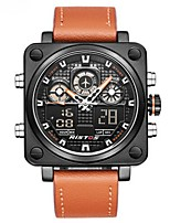 cheap -Men's Sport Watch Quartz Calendar / date / day Leather Band Analog Fashion Black / Orange - Black / Orange Black / Red Black / Blue