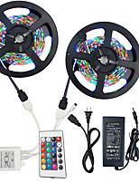 baratos -HKV 2x5 milhões Conjuntos de Luzes / Faixas de Luzes RGB 300 LEDs 3528 SMD 1 controlador remoto de 24Keys / Adaptador de energia 1 X 5A RGB Cortável / Conetável / Auto-Adesivo 100-240 V