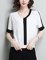 cheap -women's going out short sleeve pullover - striped v neck
