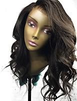 Недорогие -Remy Полностью ленточные Парик Перуанские волосы Волнистый Парик Стрижка каскад 130% Природные волосы / 100% ручная работа Черный Жен. Средняя длина Парики из натуральных волос на кружевной основе
