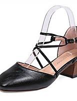 Недорогие -Жен. Балетки D'Orsay Полиуретан Весна Обувь на каблуках На толстом каблуке Черный / Бежевый / Хаки