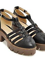 """Недорогие -Жен. Fashion Boots Микроволокно Весна Стиль """"Школьная форма"""" Обувь на каблуках На низком каблуке Черный / Розовый / Темно-коричневый"""