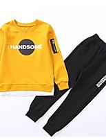 Недорогие -Дети Мальчики Классический Геометрический принт Длинный рукав Набор одежды