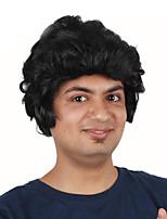 billiga -Syntetiska peruker / Kostymperuker Lockigt Bob-frisyr Syntetiskt hår 12 tum Moderiktig design / Cosplay / För europeisk Svart Peruk Herr Korta Maskingjord