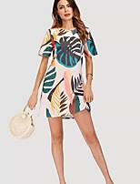 baratos -Mulheres Feriado Camiseta Vestido - Estampado, Floral Acima do Joelho Folha tropical