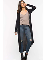 cheap -Women's Long Sleeve Cotton Long Cardigan - Solid Colored
