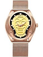 Недорогие -Муж. Спортивные часы Кварцевый Череп Нержавеющая сталь Группа Аналоговый На каждый день Черный / Розовое золото - Черный Розовое золото
