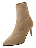 Недорогие -Жен. Fashion Boots Полиуретан Осень На каждый день Ботинки На шпильке Сапоги до середины икры Черный / Хаки