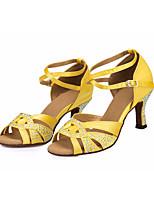 preiswerte -Damen Schuhe für den lateinamerikanischen Tanz Satin Absätze Schlanke High Heel Tanzschuhe Gelb