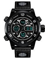 cheap -SKMEI Men's Sport Watch Dress Watch Digital 30 m Water Resistant / Water Proof Calendar / date / day Chronograph Genuine Leather Band Analog-Digital Luxury Casual Black - Black Red Blue / Stopwatch